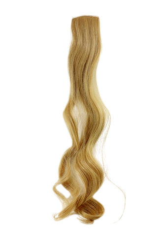 Clip-In extension strand highlight curled wavy 3,5 inch wide, 2522 inches long light blond