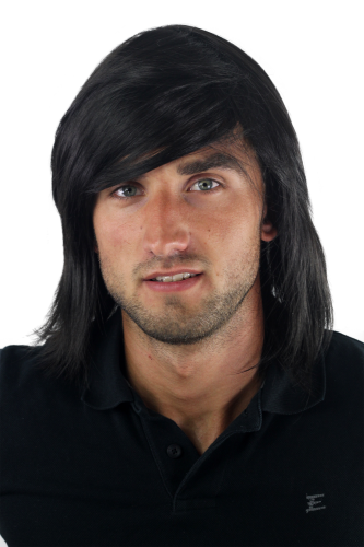 Men's WIG (for Men or Unisex) HIGH QUALITY synthetic BLACK longer hair Indie youthful young look