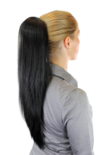 Hairpiece PONYTAIL extension VERY long AMAZING volume BLACK straight WK06-1B