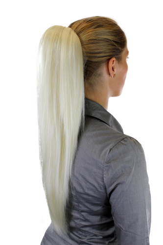 Hairpiece PONYTAIL extension VERY long AMAZING volume BRIGHT BLOND platinum straight WK06-613