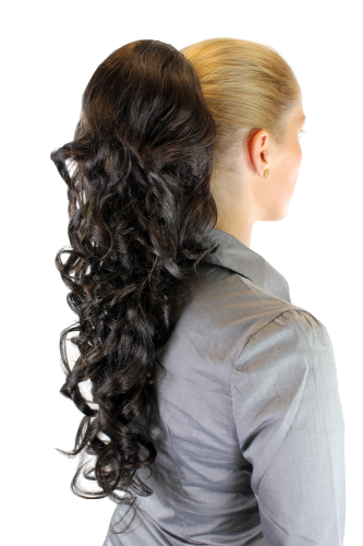 Hairpiece PONYTAIL extension LONG & AMAZING volume DARK BROWN curly BEAUTIFUL curls WK03-4