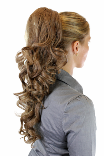 Hairpiece PONYTAIL extension VERY long AMAZING volume light BROWN brunette slightly curly curls