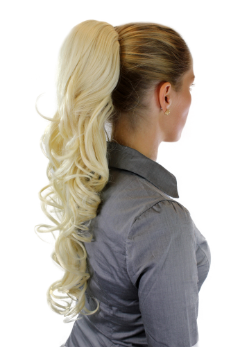 Hairpiece PONYTAIL extension VERY long AMAZING volume BRIGHT BLOND slightly curly curls WK08-88