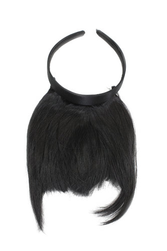 Hair Piece Clip in Bangs Fringe with hair circlet long framing strands HIGH QUALITY synthetic BLACK