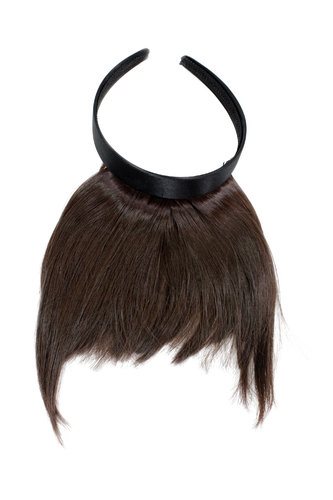 Hair Piece Clip in Bangs Fringe with hair circlet long framing strands HIGH QUALITY synthetic BROWN