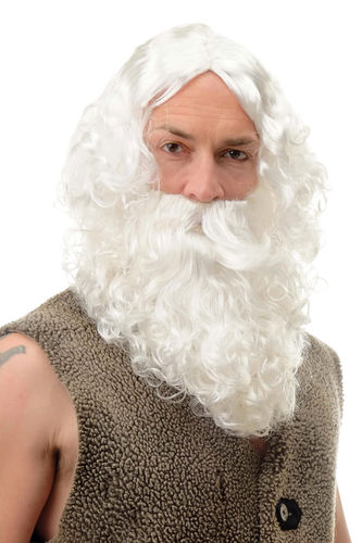 Party/Fancy Dress/Halloween men WIG & BEARD white SANTA CLAUS greek philosopher GOD Zeus Poseidon