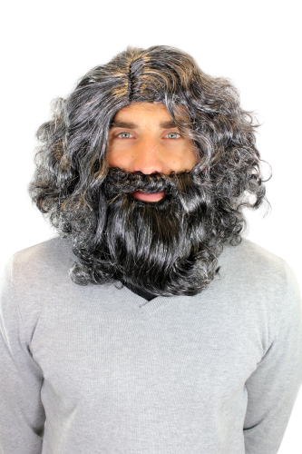 Party/Fancy Dress/Halloween men WIG & BEARD grey & black neandertal stone age CRUSOE castaway