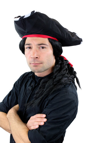 Party/Fancy Dress WIG & hat Caribbean Pirate Captain Buccaneer black long braids rasta braided