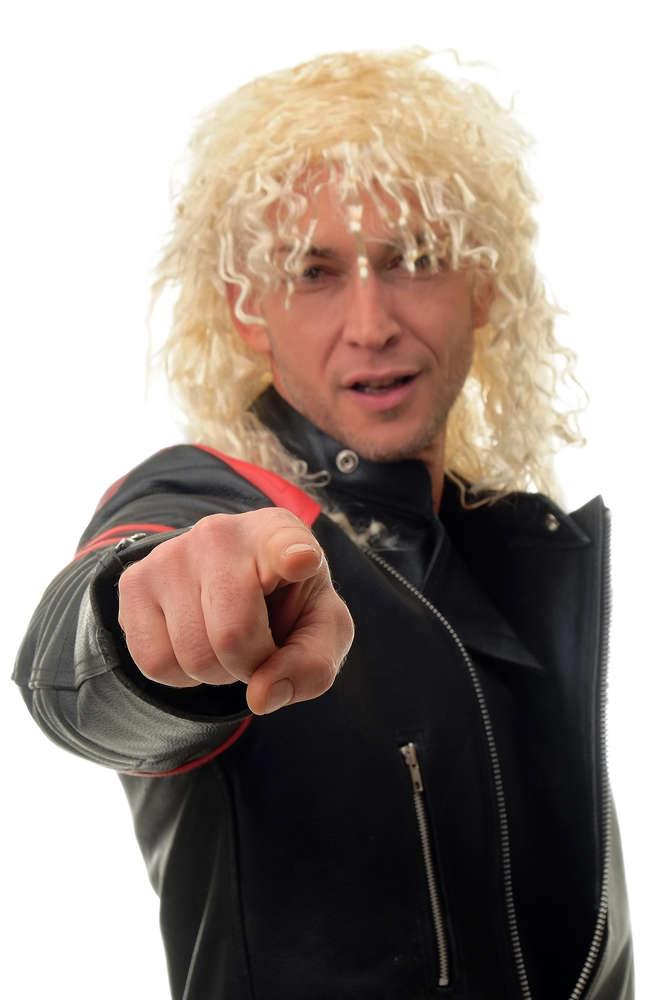 Party Fancy Dress WIG men women unisex HARDROCK HEAVY Metal 80ies MULLET  long blonde blonde curly 5c6869a2da