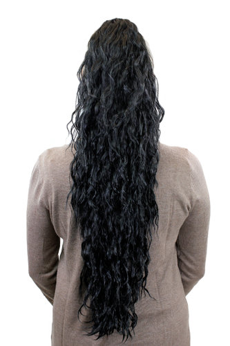 MOTHER OF PONYTAILS Hairpiece PONYTAIL extension EXTREMELY long MASSIVE volume kinked curls BLACK