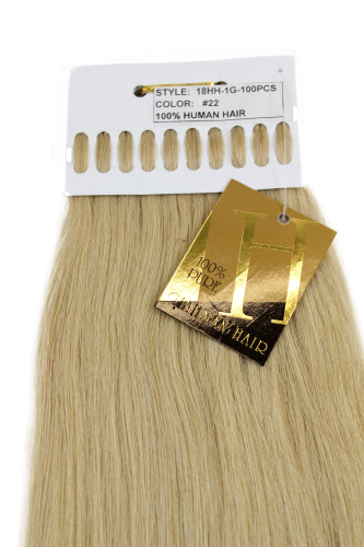 Echthaar Extensions Set 100x1g Blond 18HH-1G-22