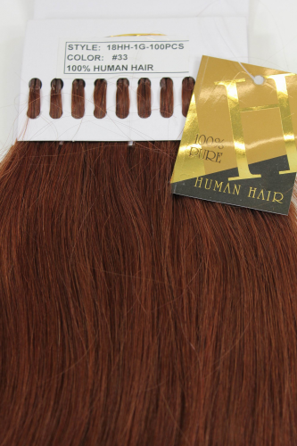 Set 100 Gramm 100% Human Hair Extensions I-Tips Bondings long auburn reddish brown mahogany 18""
