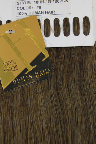 Set 100 Gramm (100 x 1 Gramm) 100% Human Hair Extensions I-Tips Bondings long chocolate brown 18""