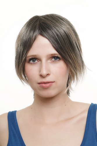 Lady Quality Wig like Bob Page short shoulder length WILD & STRAGGLY look black & blond highlights
