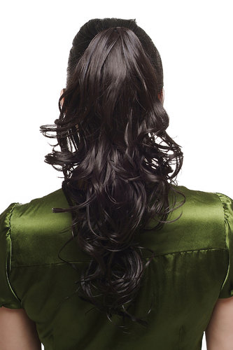 Hairpiece PONYTAIL with Claw Clamp/Clip long wet-look stringy curls medium black SA011-2 45 cm
