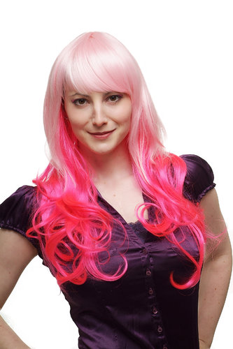 Incredible! Lady Quality Wig Cosplay Drag Queen White with Pink strands very long fringe curly ends