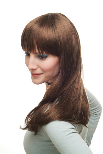 Lady Quality Wig sexy prominent fringe bangs LONG straight light brown & red strands