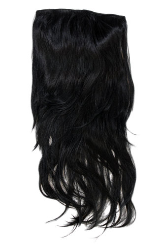 Hairpiece Halfwig 7 Microclip Clip In Extension VERY long straight slight wave wavy BLACK