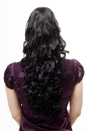 Hairpiece PONYTAIL extension VERY long MASSIVE volume voluminous curly AMAZING curls BLACK kinks