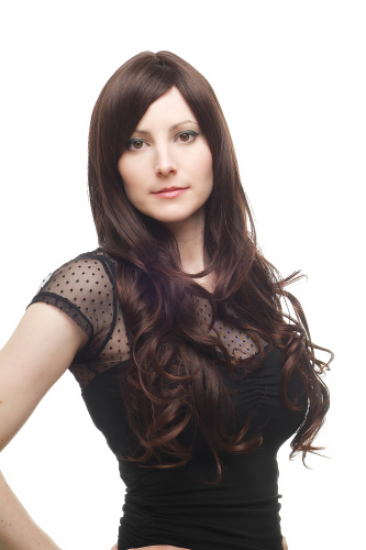Lady Quality Wig straight curling wavy ends DARK BROWN strands of mahogany long fringe parted side