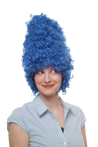 Party/Fancy Dress/Halloween WIG gigantic BLUE beehive funky 60ies 8648-PC3