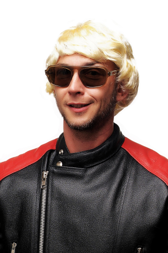 WIG ME UP Party/Fancy Dress/Halloween Men Wig bright blond short 80ies Popstar Gigolo Tennis Coach