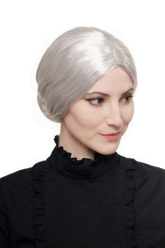 WIG ME UP - Party/Fancy Dress/Halloween Wig grey with hairbun Grandma, Gramma, Old Governess