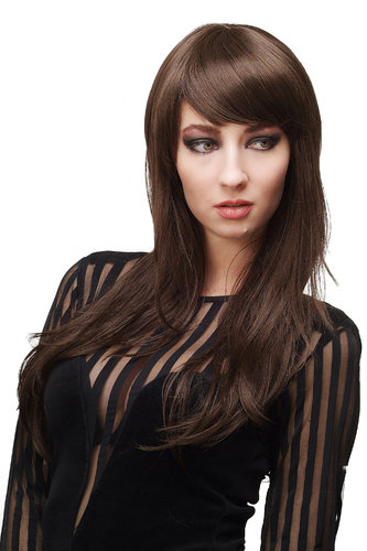 WIG ME UP ® - Lady Quality Wig LONG straight cute bangs fringe parted BROWN 3413-6 60 cm