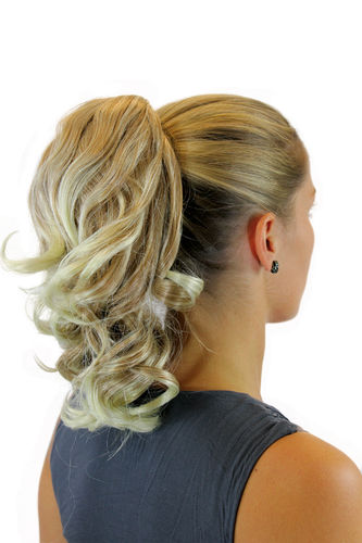 piece PONYTAIL comb & elastic draw string short wavy voluminous ash blond mixed platinum tips 14""