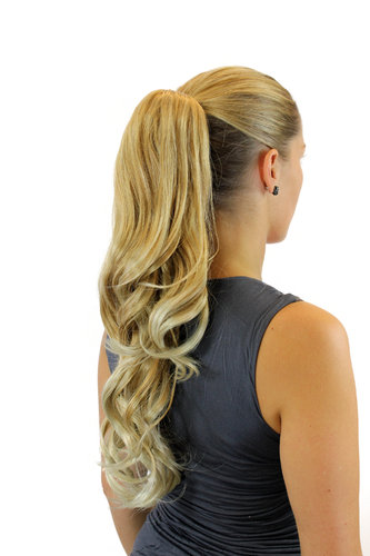 Ponytail Hairpiece extensionlong wavy butterfly claw grip blond mix light blond highlights 21""