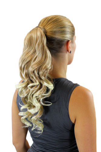 ROSY-24 +613 Hairpiece PONYTAIL with comb and snapwrap long wavy slightly curled blond mix 18""
