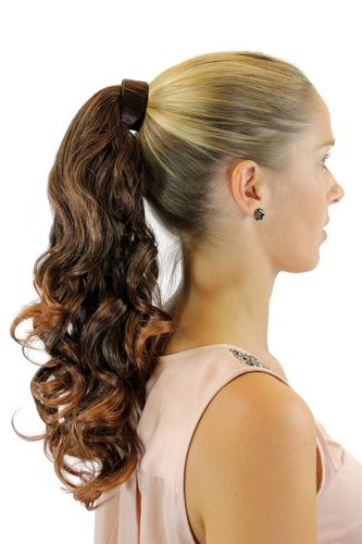 Hairpiece PONYTAIL with comb and snapwrap long wavy slightly curled chestnut brown mix 18""
