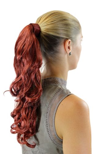 ROSY-350 Hairpiece PONYTAIL with comb and snapwrap long wavy slightly curled dark copper red 18""
