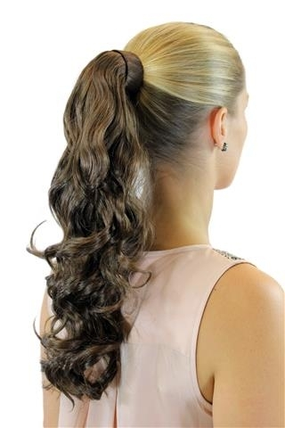 ROSY-6 Hairpiece PONYTAIL with comb and snapwrap long wavy slightly curled dark to medium brown18""