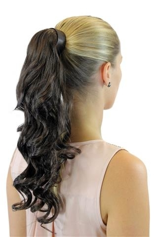 ROSY-10 Hairpiece PONYTAIL with comb and snapwrap long wavy slightly curled medium brown 18""
