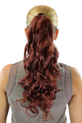 Hairpiece PONYTAIL with comb and snapwrap long wavy slightly curled red brown rust auburn 18""
