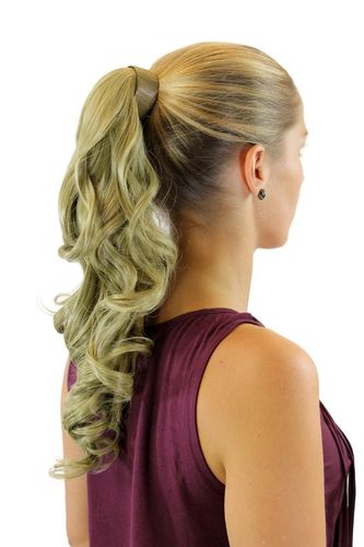 ROSY-24 Hairpiece PONYTAIL with comb and snapwrap long wavy slightly curled medium ash blond 18""