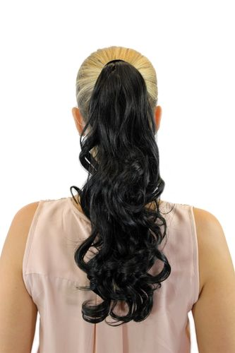 ROSY-3 Hairpiece PONYTAIL with comb and snapwrap long wavy slightly curled dark brown 18""