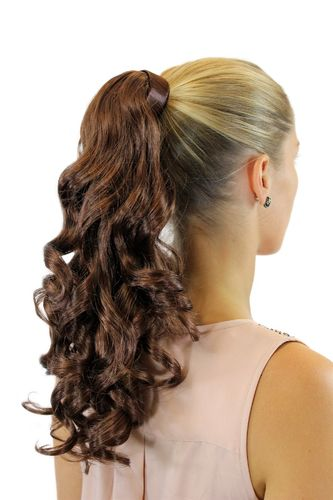 Hairpiece PONYTAIL comb & snapwrap long wavy slightly curled dark auburn red brown mahogany 18""