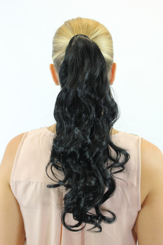 ROSY-1 Hairpiece PONYTAIL with comb and snapwrap long wavy slightly curled deep black 18""