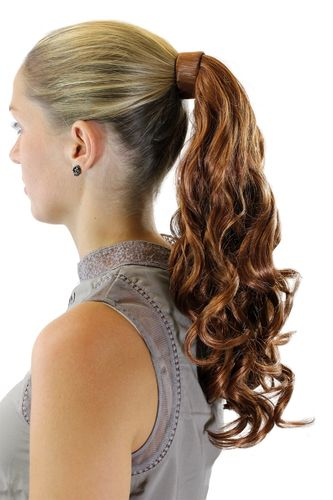 ROSY-30 Hairpiece PONYTAIL with comb and snapwrap long wavy slightly curled light copper brown 18""