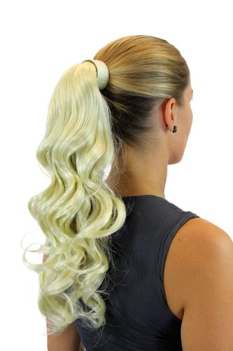ROSY-613 Hairpiece PONYTAIL with comb and snapwrap long wavy slightly curled platinum blond 18""