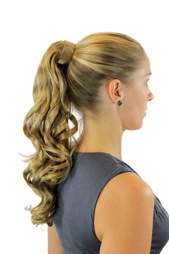ROSY-22 Hairpiece PONYTAIL with comb and snapwrap long wavy slightly curled dark blond 18""