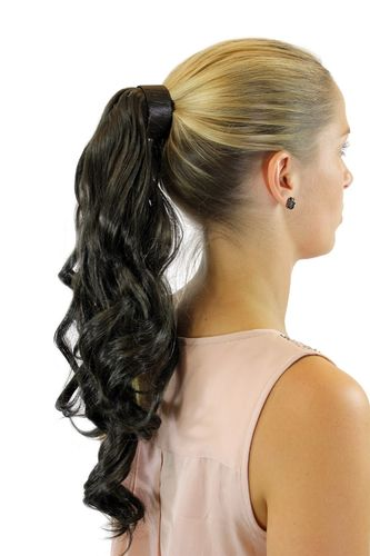 ROSY-5 Hairpiece PONYTAIL with comb and snapwrap long wavy slightly curled dark brown18""