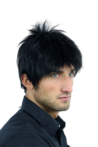 WL-3058-1 Men Gents Quality Wig short unruly wild treased spiky strands youtful dense deep black
