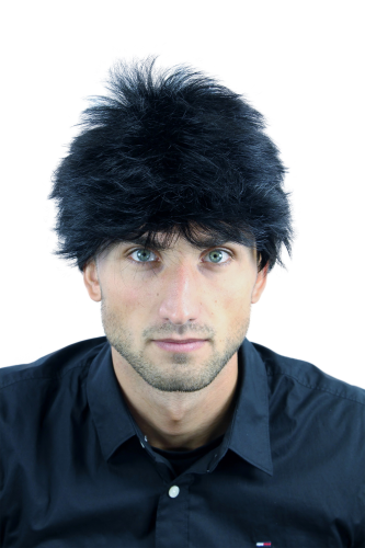 WL-3042-1 Men Gents Quality Wig short unruly wild treased spiky strands youtful dense deep black
