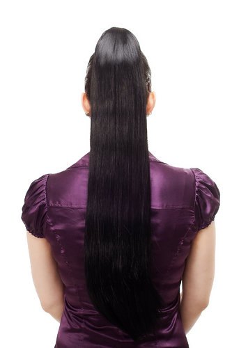 Hairpiece PONYTAIL with Claw Clamp/Clip extremely long straight & smooth black T113-1 70 cm