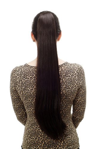 Hairpiece PONYTAIL with Claw Clamp/Clip extremely long straight & smooth dark brown T113-3 70 cm