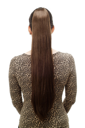 Hairpiece PONYTAIL with Claw Clamp/Clip extremely long straight & smooth medium brown T113-8 70 cm