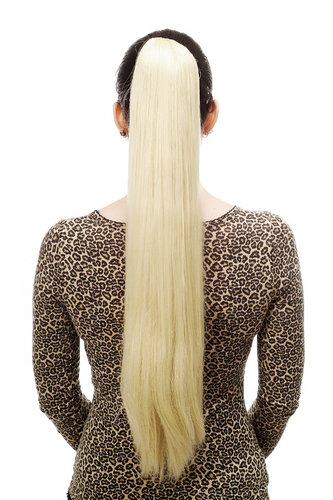 Hairpiece PONYTAIL with Claw Clamp/Clip extremely long straight & smooth bright blond 70 cm